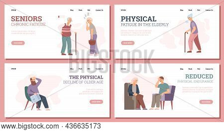 Chronic Fatigue Of Elderly People Web Pages, Flat Vector Illustration.