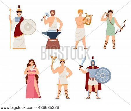 Set Of Goddesses And Gods Ancient Greek Mythology A Vector Illustration.