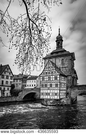 Landscape with city hall on the bridge in Bamberg, Germany. Black and white photography