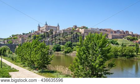 panoramic view of Toledo town and Tagus river, Spain