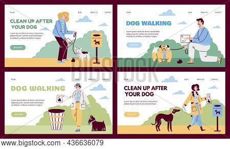 Clean After Dog Web Banners With Owners Picking Up Waste, Vector Illustration.