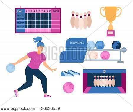 Vector Illustration Of Woman Playing Bowling And Elements Of Bowling Club In Flat Style. Illustratio