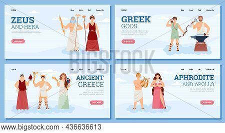 Set Of Web Banners With Goddesses And Gods Ancient Greek Mythology. Famous Characters Deity Of Olymp