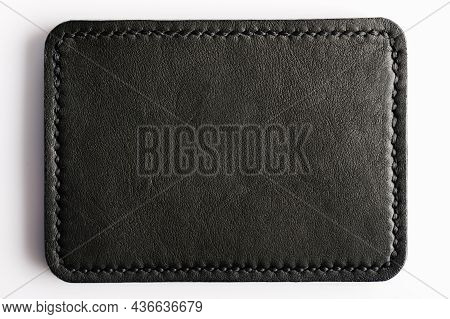 Black Leather Label Tag With Stitches