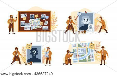 Male Private Detective Solving Crime And Search Criminals A Vector Illustrations