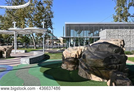 IRVINE, CALIFORNIA - 15 OCT 2021: Kids Rock Playground at the Visitor Center in the Orange County Great Park.