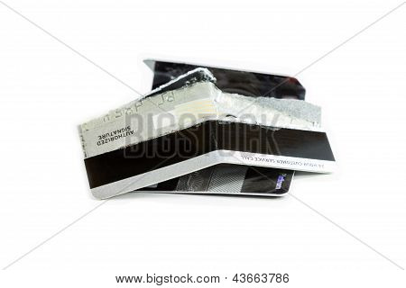 Damage Credit Cards On White Background