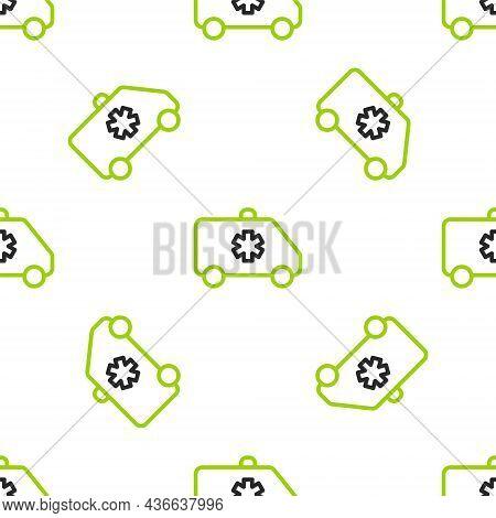 Line Ambulance And Emergency Car Icon Isolated Seamless Pattern On White Background. Ambulance Vehic