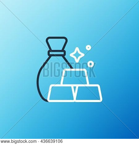 Line Bag Of Gold Bars Icon Isolated On Blue Background. Sack With Golden Bars. Colorful Outline Conc