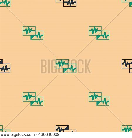 Green And Black Computer Monitor With Cardiogram Icon Isolated Seamless Pattern On Beige Background.