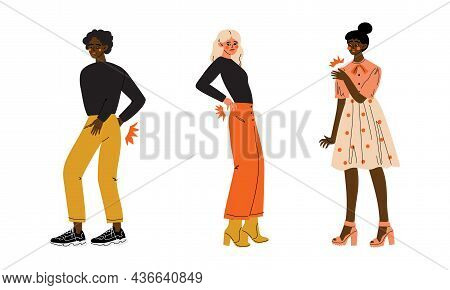 People Character Suffering From Pain In Back And Shoulder Vector Illustration Set
