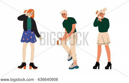 People Character Suffering From Pain In Head And Knee Vector Illustration Set