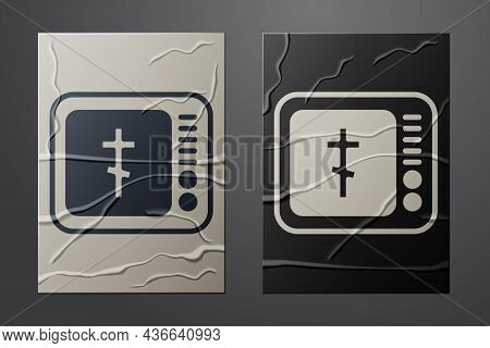 White Online Church Pastor Preaching Video Streaming Icon Isolated On Crumpled Paper Background. Onl