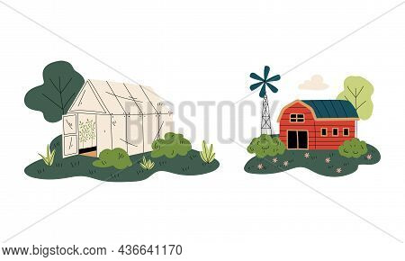 Green House And Timbered Red Barn Or Granary For Crop Storage Vector Set