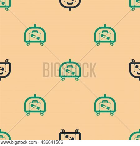 Green And Black Hotel Luggage Cart With Suitcase Icon Isolated Seamless Pattern On Beige Background.