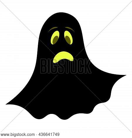 Ghost. Silhouette. Sad Facial Expression. Vector Illustration. Isolated White Background. Bringing.