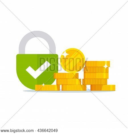 Money Lock As Security Safety Protected Bill Vector Or Cash Capital Savings Locked And Insured From