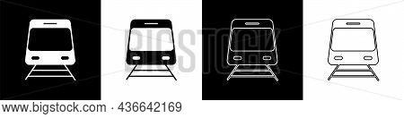 Set Train And Railway Icon Isolated On Black And White Background. Public Transportation Symbol. Sub