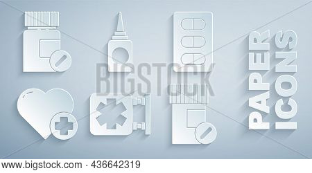 Set Medical Symbol Of The Emergency, Pills In Blister Pack, Heart With Cross, Medicine Bottle And Pi
