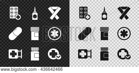 Set Pills In Blister Pack, Bottle Nasal Spray, Awareness Ribbon, Hospital Signboard, Medicine Bottle