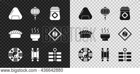 Set Sushi, Chinese Paper Lantern, Jar Of Honey, Yin Yang, Decree, Paper, Parchment, Scroll, Firework
