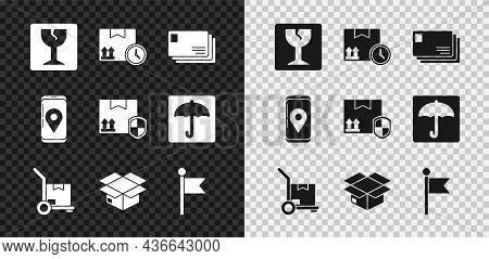 Set Fragile Broken Glass, Cardboard Box And Fast Time, Envelope, Hand Truck Boxes, Carton Cardboard,