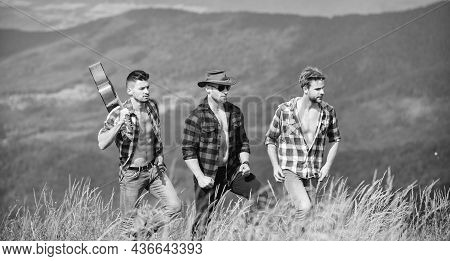 Tourists Hiking Concept. Hiking With Friends. Long Route. Enjoying Freedom Together. Group Of Young