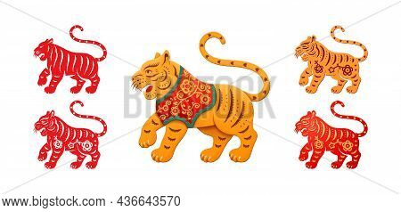 Bengal Tiger Animals In Red And Orange Color With Floral Pattern Set Isolated African Tigress. Vecto