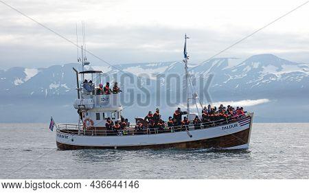 Husavik, Iceland On August 2, 2021: Traditional Icelandic Boat From Húsavík. Húsavik Has Been Brande