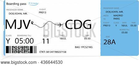Airline Boarding Pass Ticket Isolated On White Background. Detailed Blue Blank Of Airplane Boarding