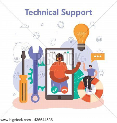 Technical Support Concept. Idea Of Customer Service. Consultant Help