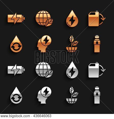 Set Head And Electric Symbol, Eco Fuel Canister, Bottle Of Water, Earth Globe Plant, Recycle Clean A