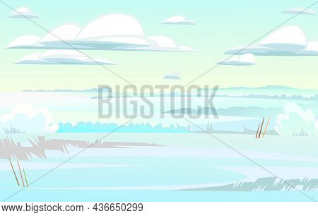 Winter Glade. Rural Landscape With Cold White Snow And Drifts. Beautiful Frosty View Of Countryside