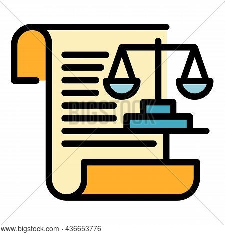 Justice Paper Balance Icon. Outline Justice Paper Balance Vector Icon Color Flat Isolated
