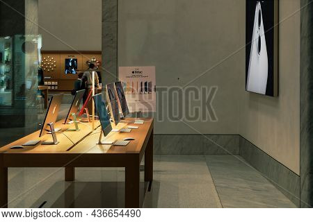 Rome, Italy - October 10 2021: Apple Store Exterior With Imac On Display. Street View Looking Throug
