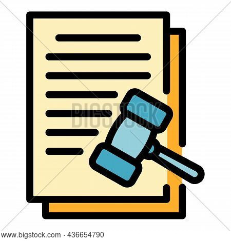 Judge Contract Icon. Outline Judge Contract Vector Icon Color Flat Isolated