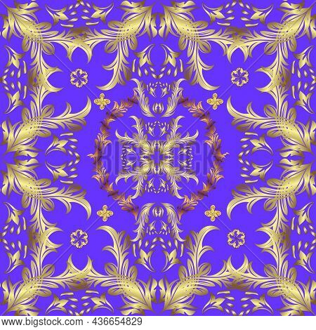 Golden Pattern On Violet, Yellow And Neutral Colors With Golden Elements. Seamless Classic Vector Go