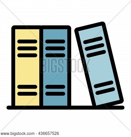 Books On Shelf Icon. Outline Books On Shelf Vector Icon Color Flat Isolated