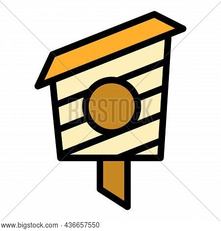 Wood Bird House Icon. Outline Wood Bird House Vector Icon Color Flat Isolated