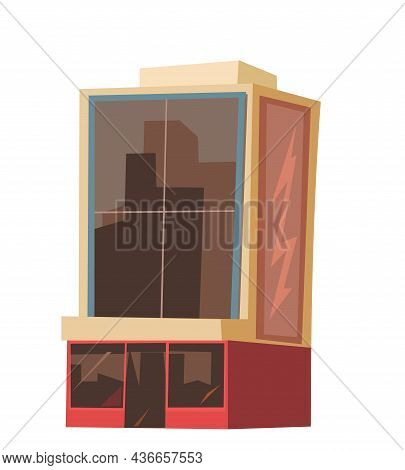 City Glass Building. Cartoon Fun Flat Style. Isolated On White Background. Supermarket, Shop Or Busi