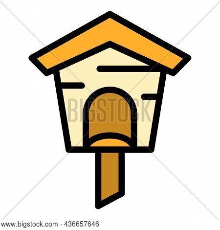 Spring Bird House Icon. Outline Spring Bird House Vector Icon Color Flat Isolated