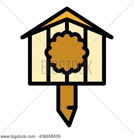 Drawing Bird House Icon. Outline Drawing Bird House Vector Icon Color Flat Isolated