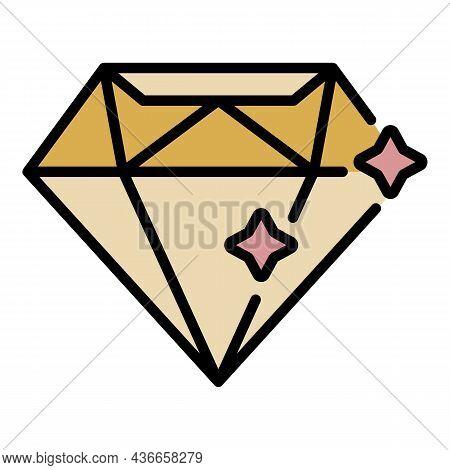 Diamond Stone Icon. Outline Diamond Stone Vector Icon Color Flat Isolated