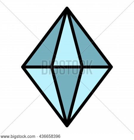 Gem Stone Icon. Outline Gem Stone Vector Icon Color Flat Isolated