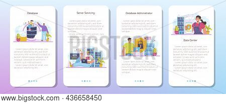 Data Base Administrator Mobile Application Banner Set. Manager