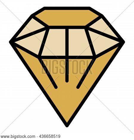 Fashion Diamond Icon. Outline Fashion Diamond Vector Icon Color Flat Isolated