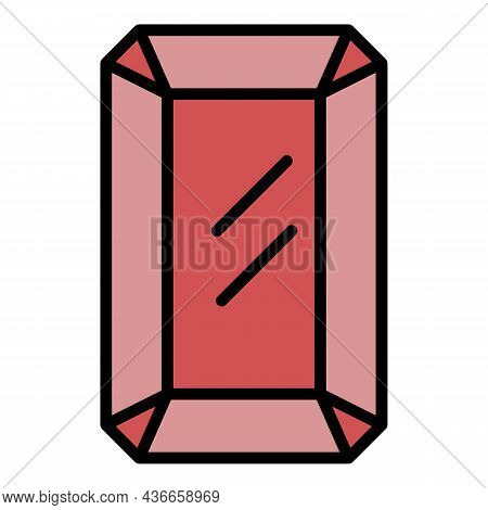 Sapphire Jewel Icon. Outline Sapphire Jewel Vector Icon Color Flat Isolated