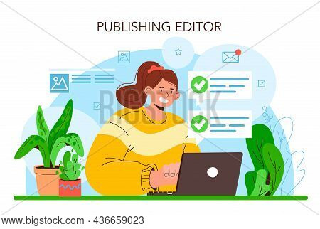 Publishing Editor Concept. Journalist Working On Magazine Article.