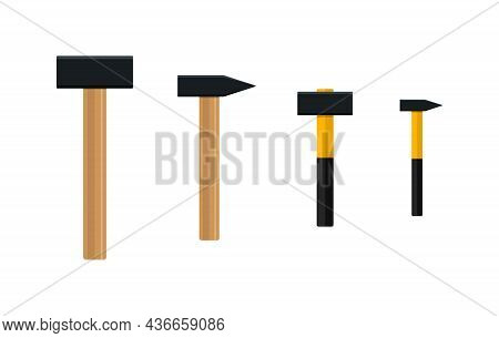 Hammer. Iron Sledge With Wooden Handle. Big Sledgehammer. Icon Of Tool. Mallet For Carpenter, Repair