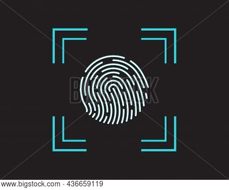 Finger Print. Fingerprint On Scan. Biometric Scanner For Identification And Security. Icon Of Thumbp